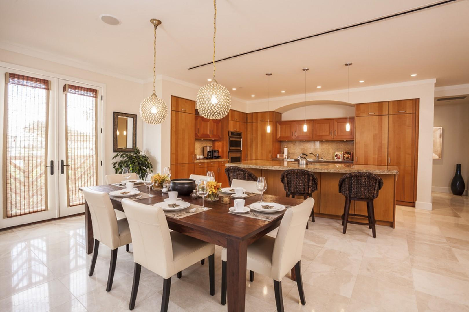 Indoor dining for up to six guests at a 90