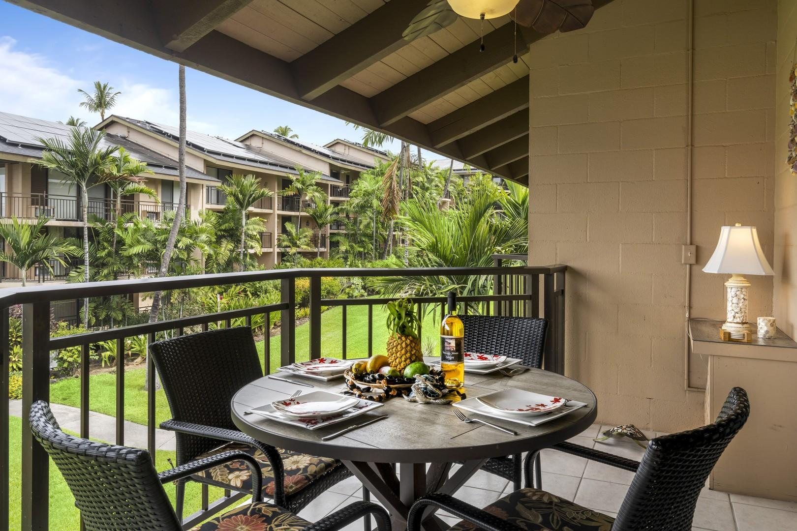 Covered Lanai offers a great place to dine even in the rain!