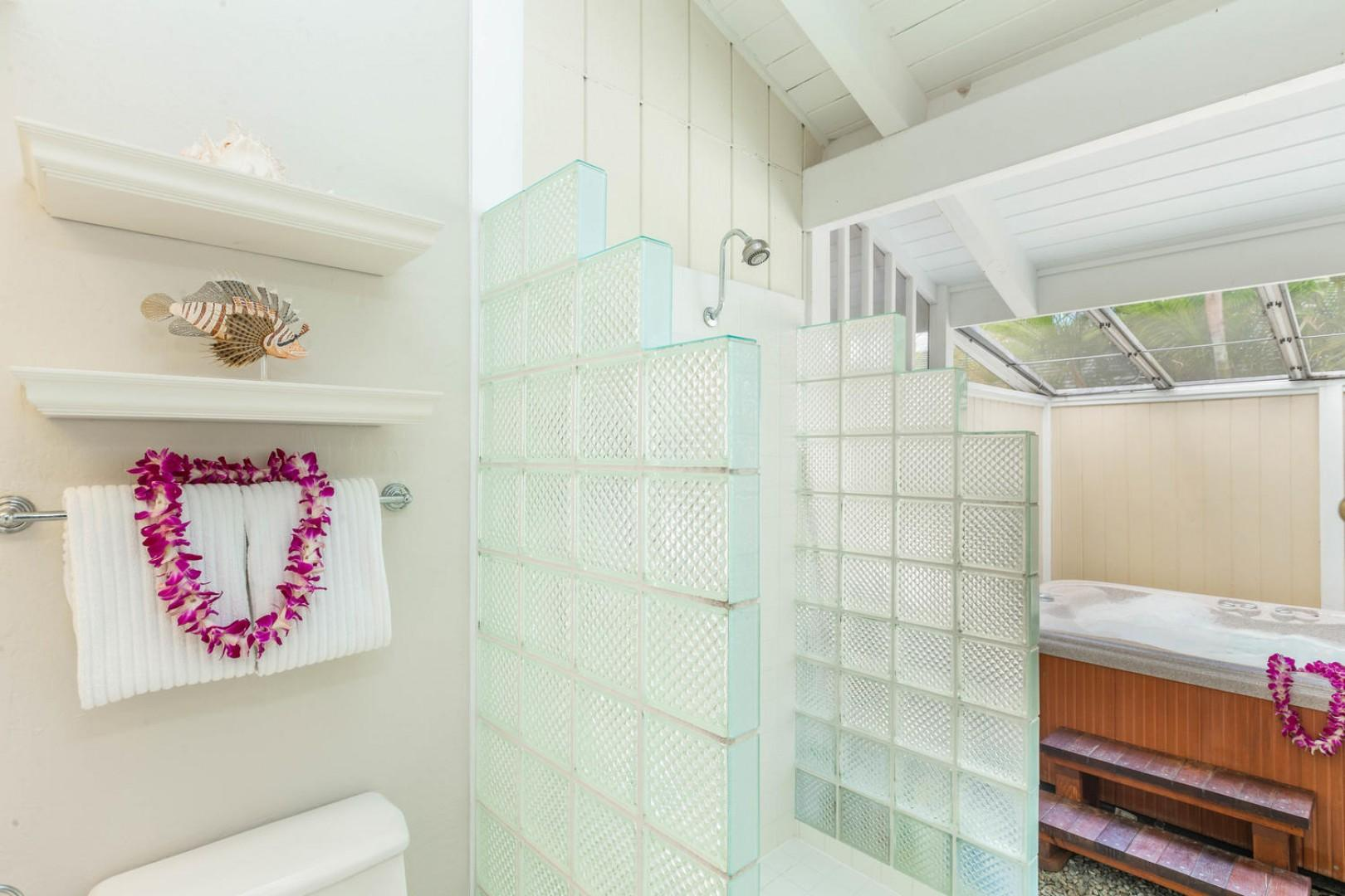 Tiled shower in the master creates a spa look and feel