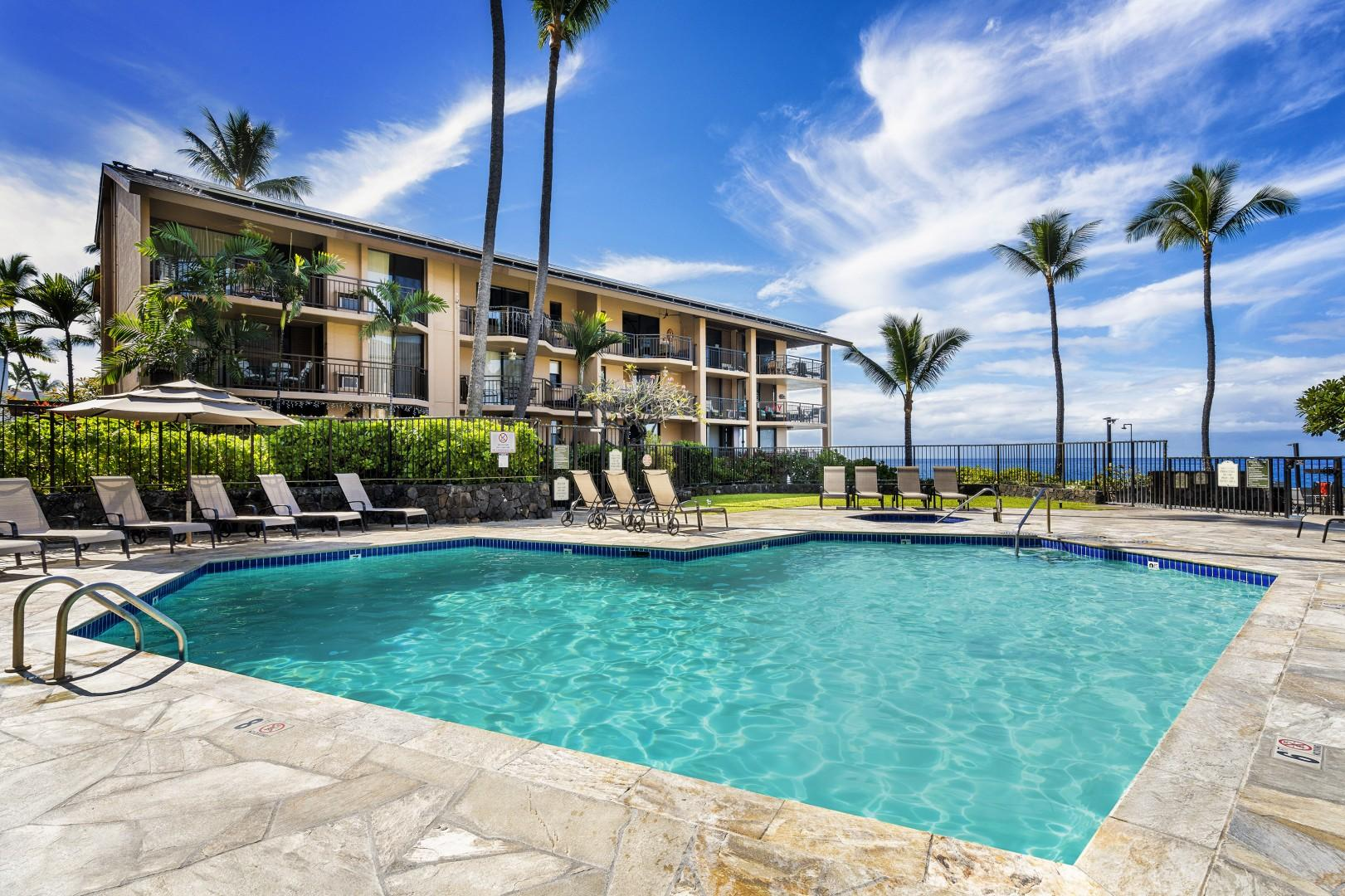 Kona Makai Pool with coastal views