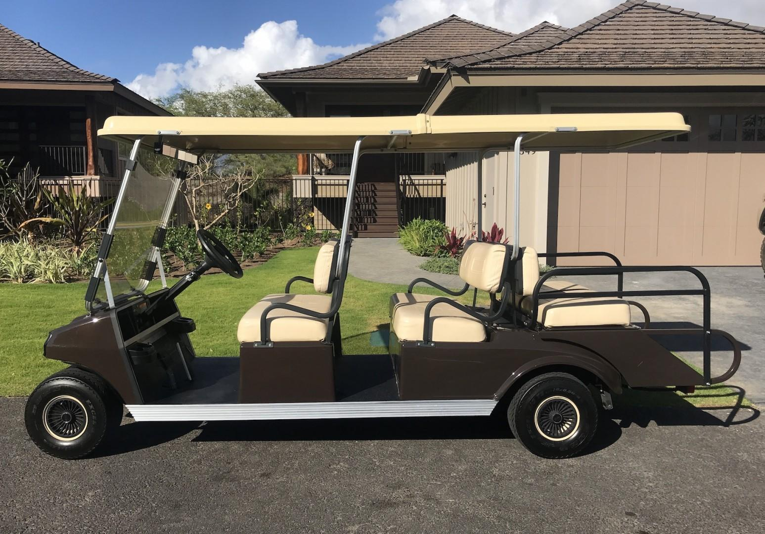 Your rental includes this 6-seater golf cart.