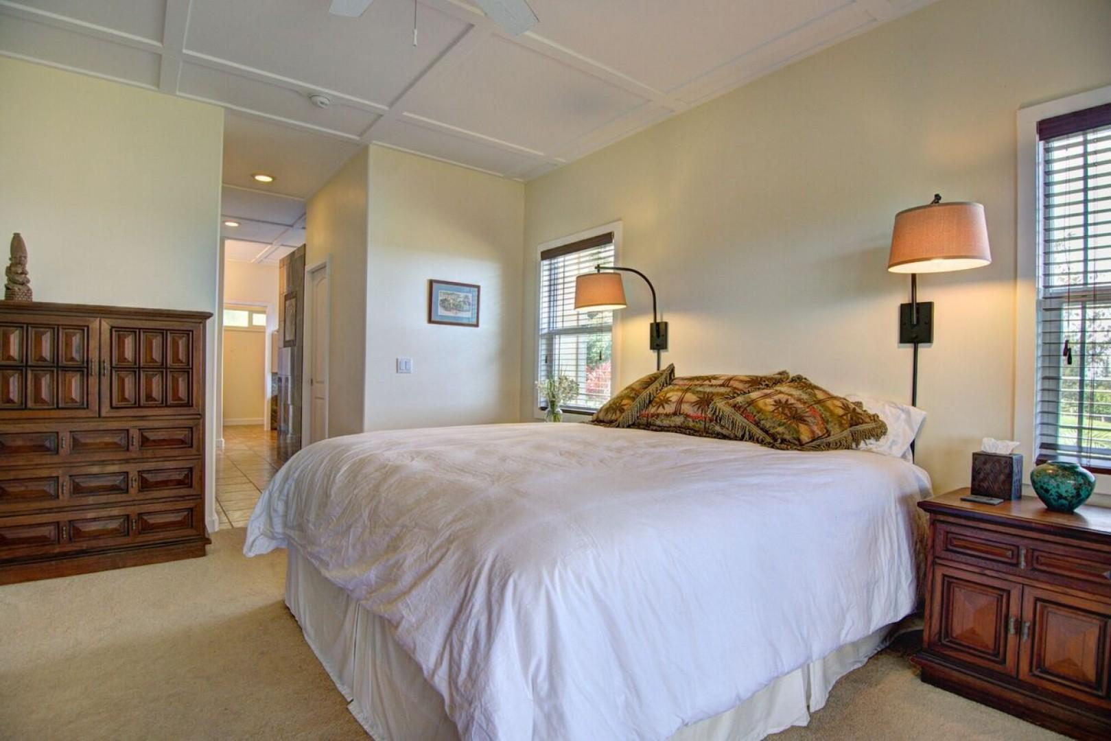 The serene master suite is so comfortable!