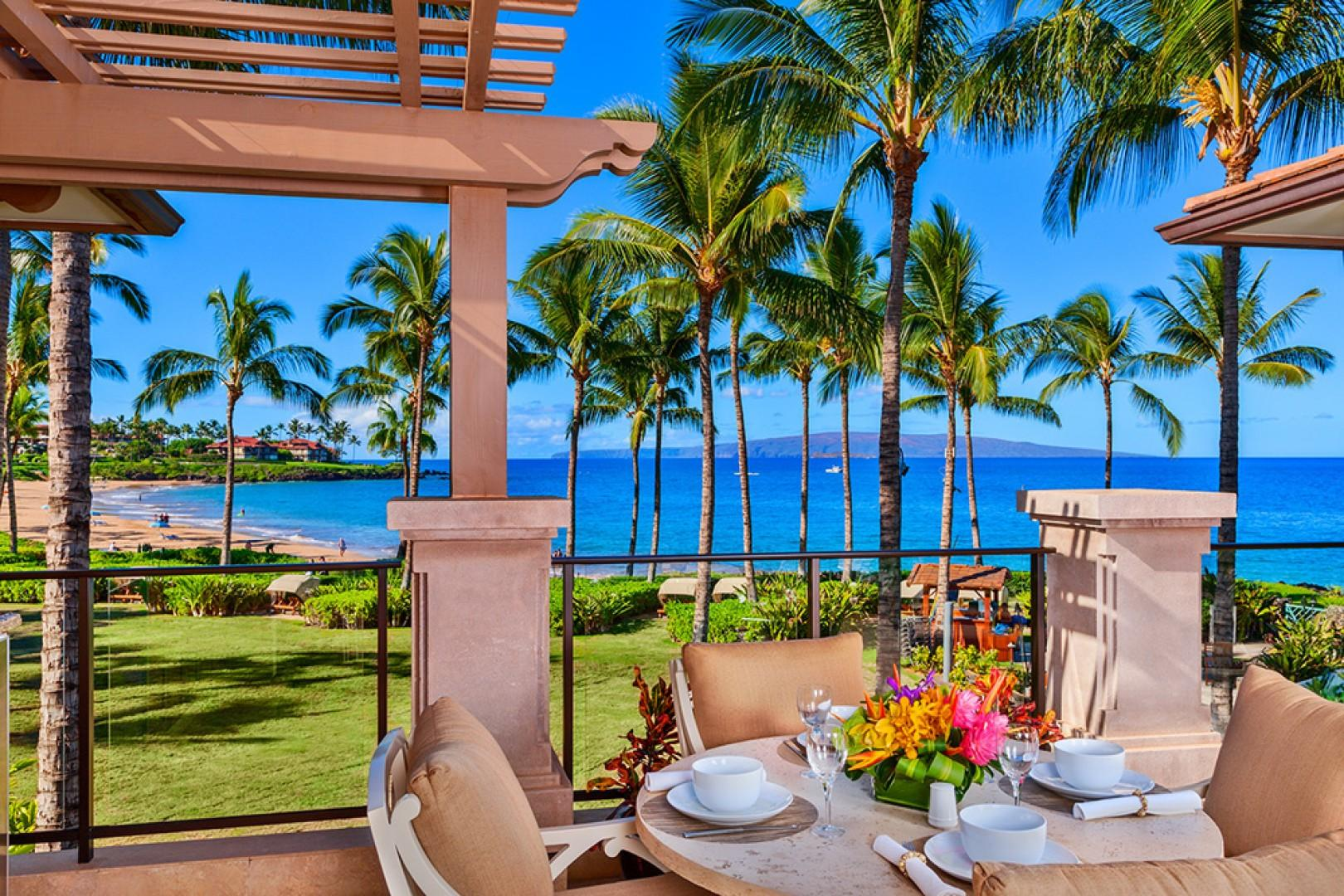 Your View From A201 Royal Ilima At Wailea Beach Villas - Direct Ocean and Beach Front Villa. The covered