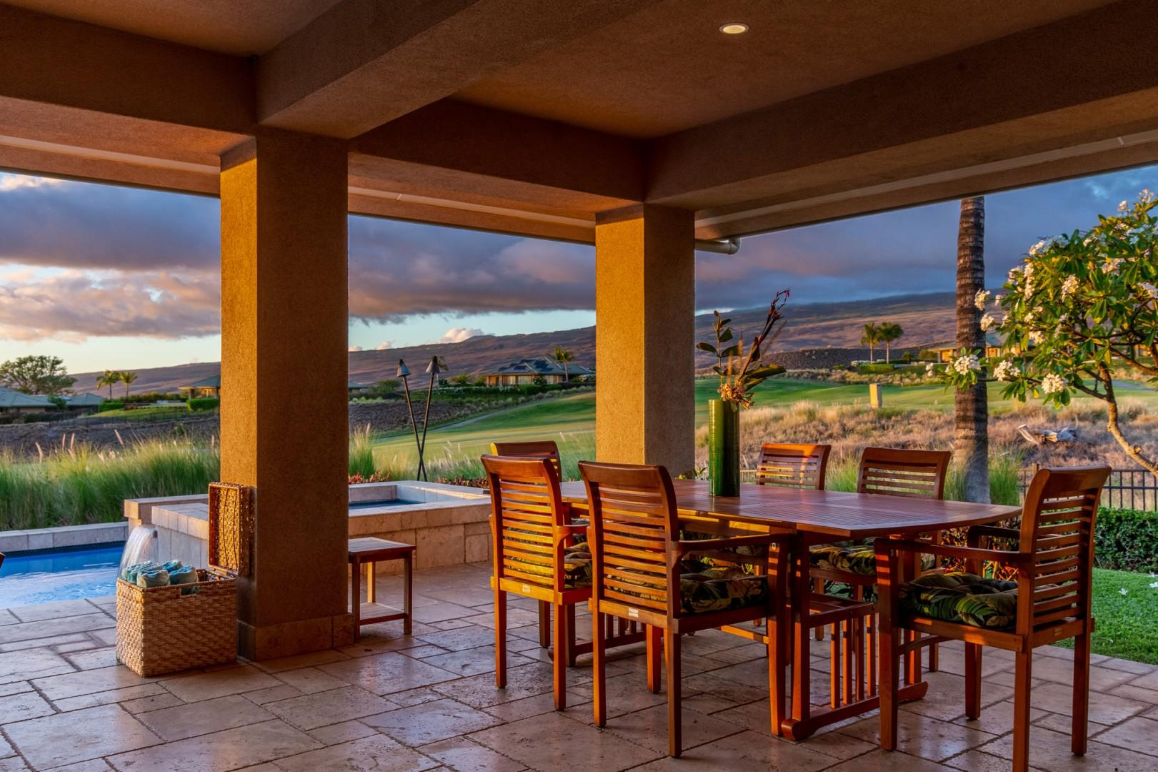 Enjoy cocktails and al fresco meals as you watch the sky turn beautiful colors as it turns to twilight.