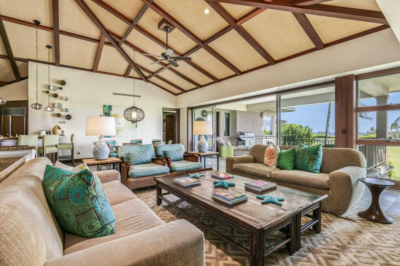 Expansive Great Room with Soaring Vaulted Ceilings, Professionally Designed by Erik Henderson.