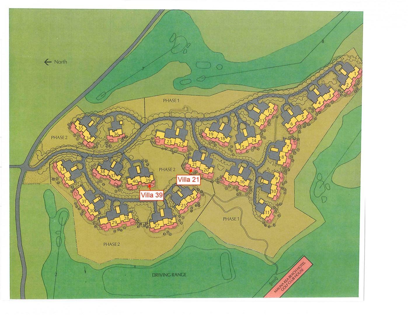 Villas at Mauna Kea Resort Community Map Showing Location of Villa 21