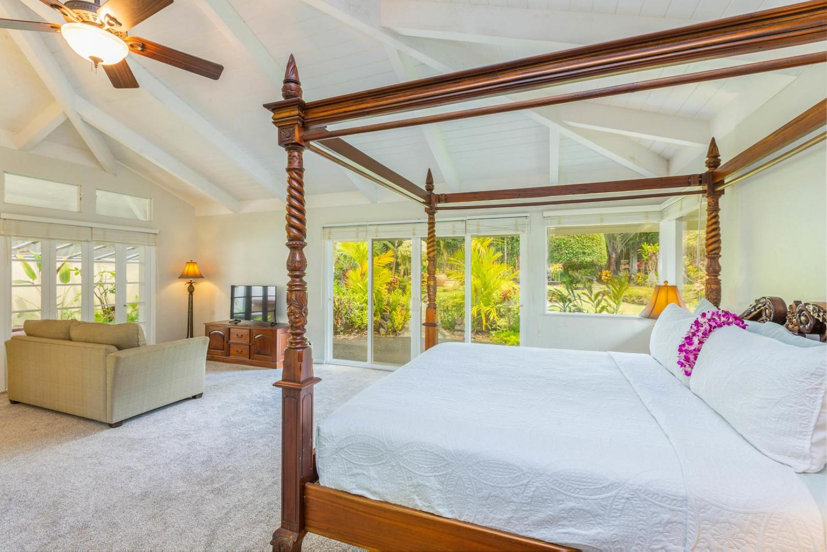 Slip into relaxation mode in the posh master suite