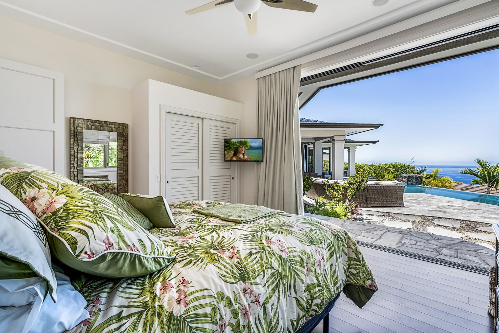 Second Master featuring King bed, Lanai access, and Smart TV!