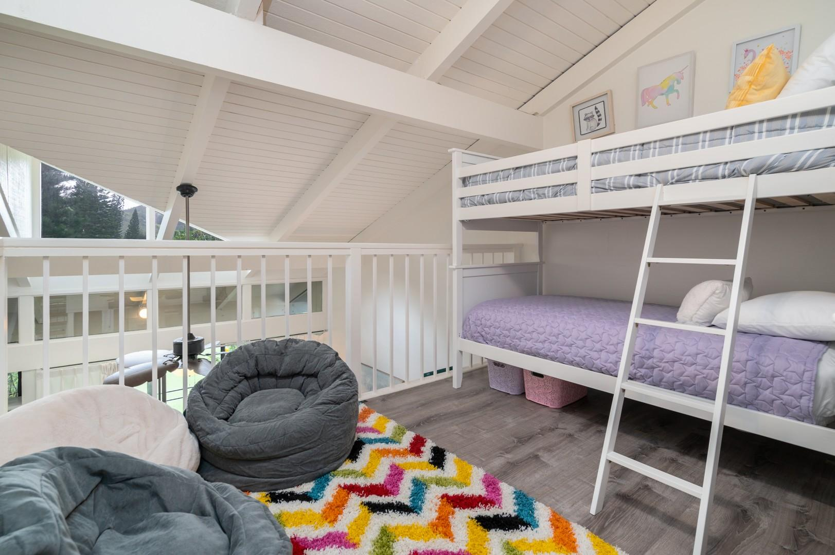 Bunk beds in loft, for additional guests