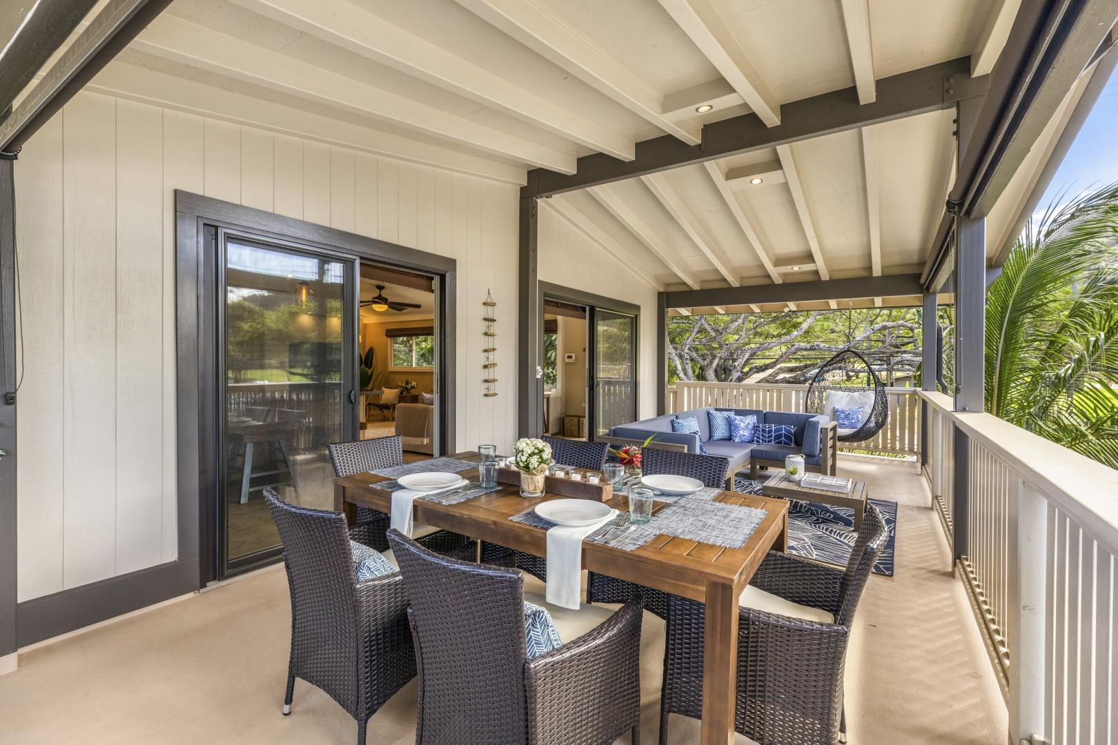Upstairs lanai with barbecue grill, dining area, and lounge area