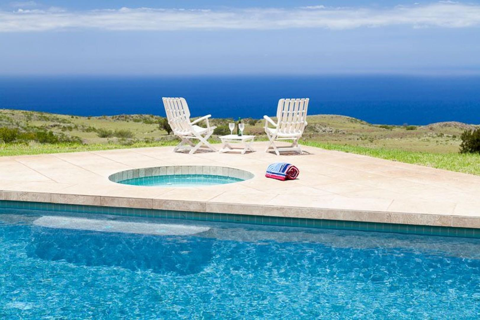 Step out of the pool into the jacuzzi or to view the sunset
