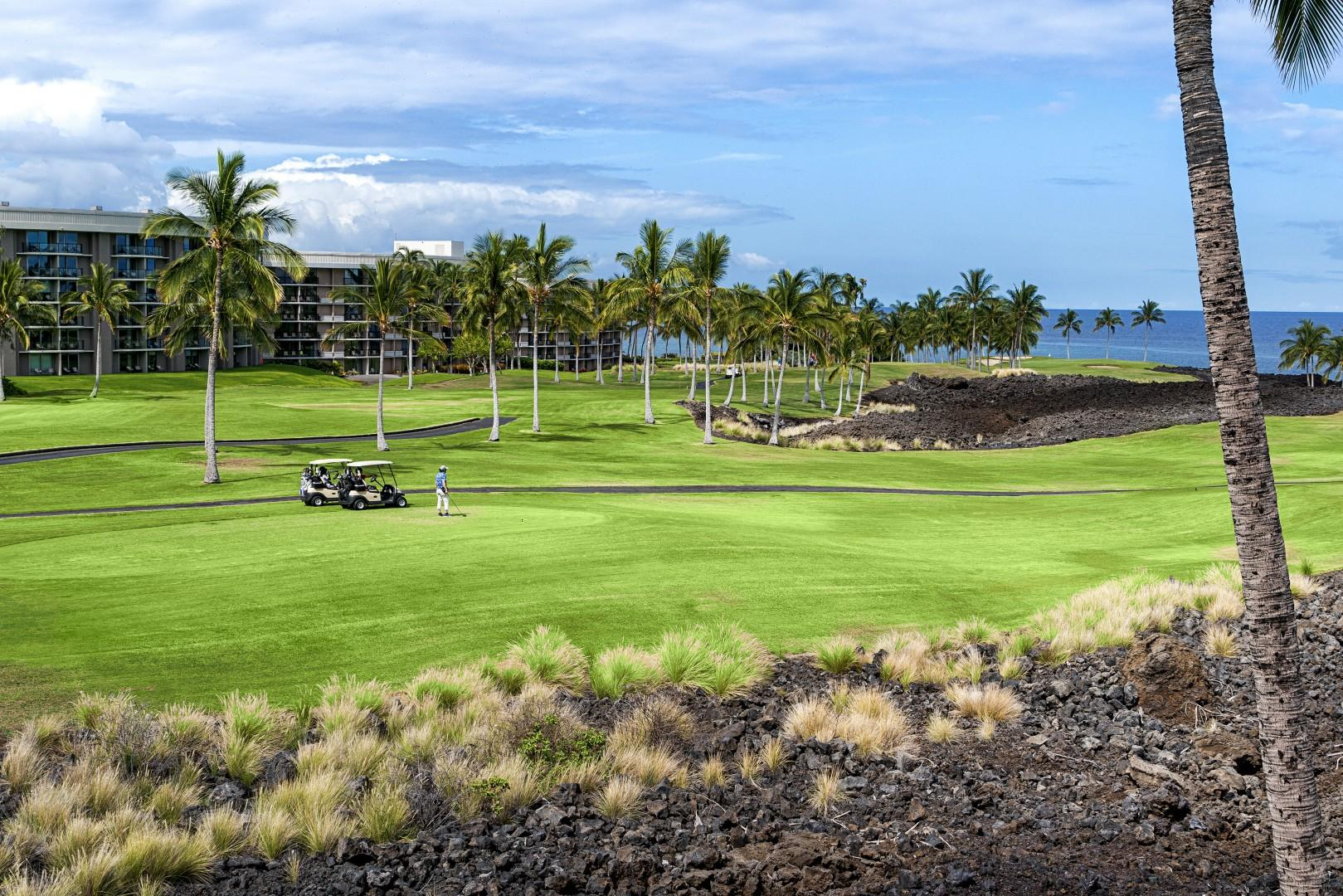 Golf course and ocean views from the downstairs Lanai!