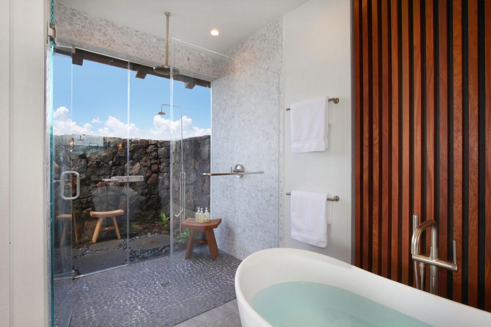 Master bathroom with outdoor lava rock shower