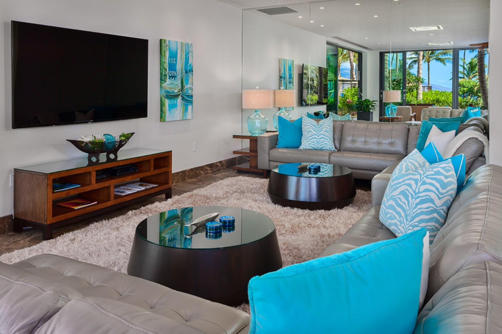 SeaGlass Villa 810 at Andaz Maui Wailea Resort - Spacious Dining and Living Space with Leather Sofas, Large Screen TV and Surround Sound System