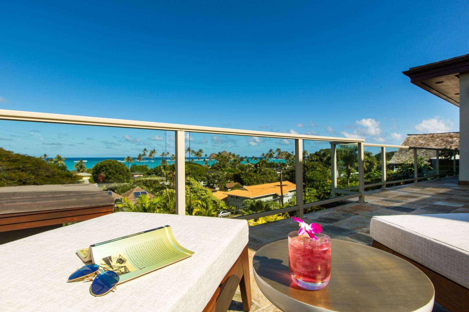 Relax on the lanai with a refreshing drink and a book.