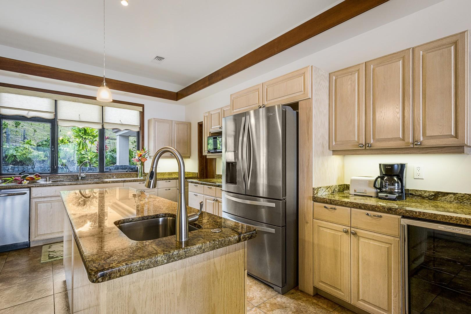 This kitchen is equipped with two sinks for your convenience