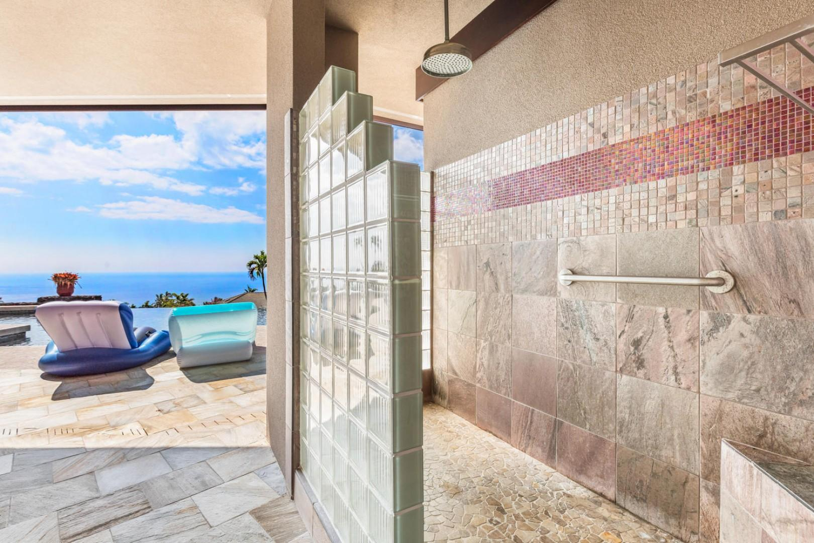 Outdoor shower, pool side!