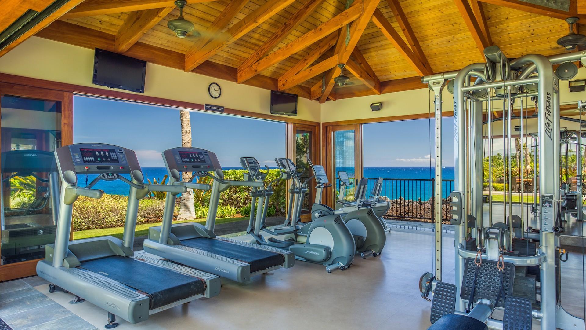 Hali'i Kai Resort's private fitness center, oceanfront.