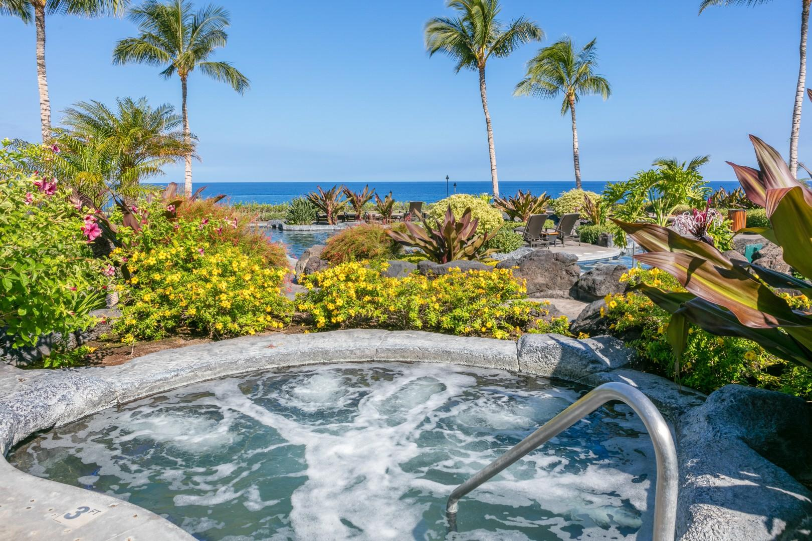 Take a dip in the jacuzzi to ease your muscles after an island hike or gaze at the sunset with your favorite beverage.