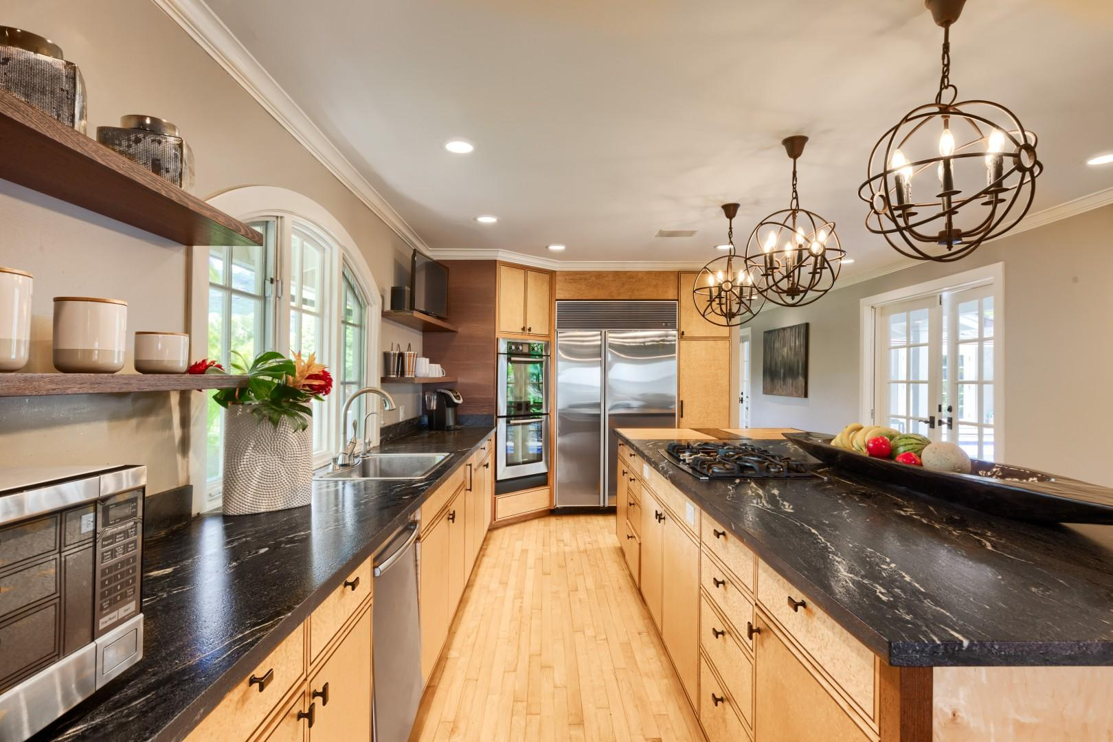 The kitchen is ultimately built for a private chef to whip you up a five star meal!  All serving platters, dinnerware and such items are provided.