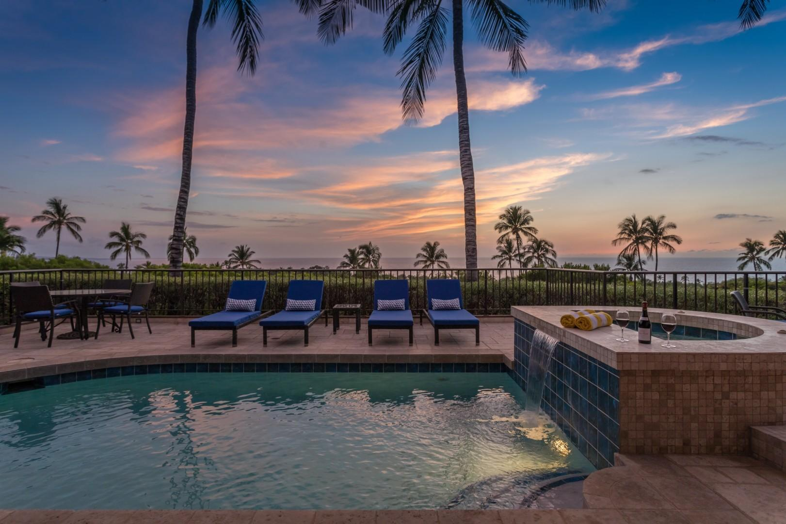 Tropical sunsets from your own slice of paradise.