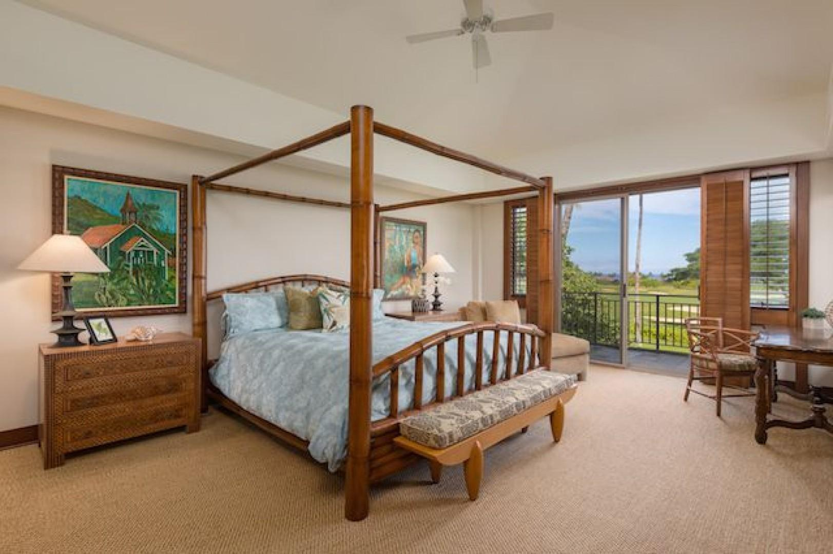 Master bedroom with its own lanai looking towards the Golf Course and  Ocean