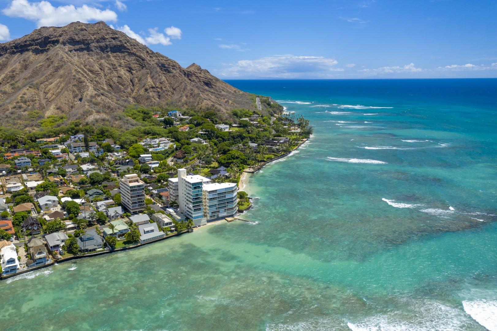 Aerial view of Diamond Head.