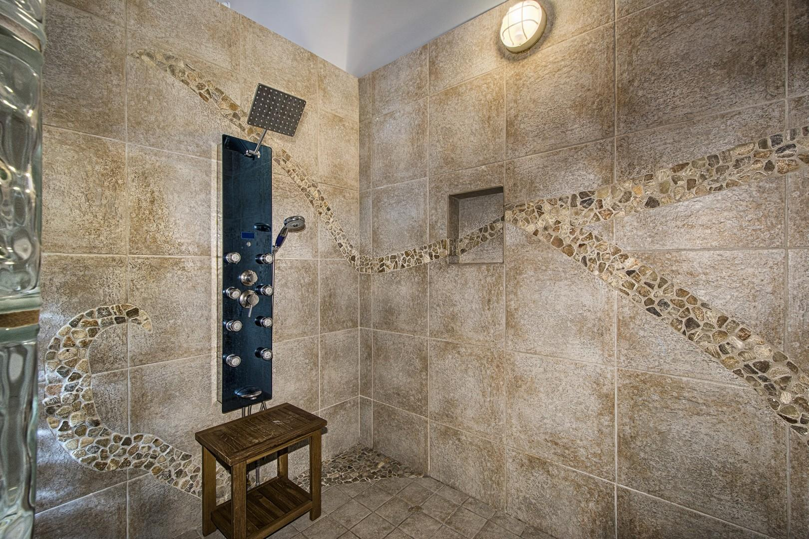 Master bathroom shower! Perfect after a day at the beach!