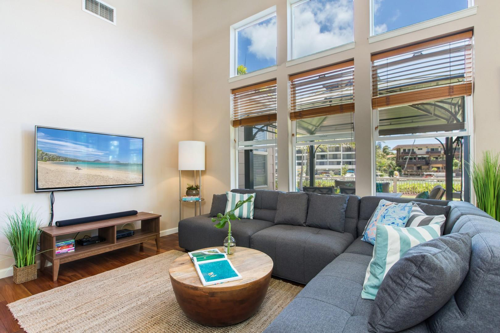 Kick back and relax at Ohana Kai, where you have a large, family-size couch, beautiful wood flooring, full air conditioning, and of course wireless internet.