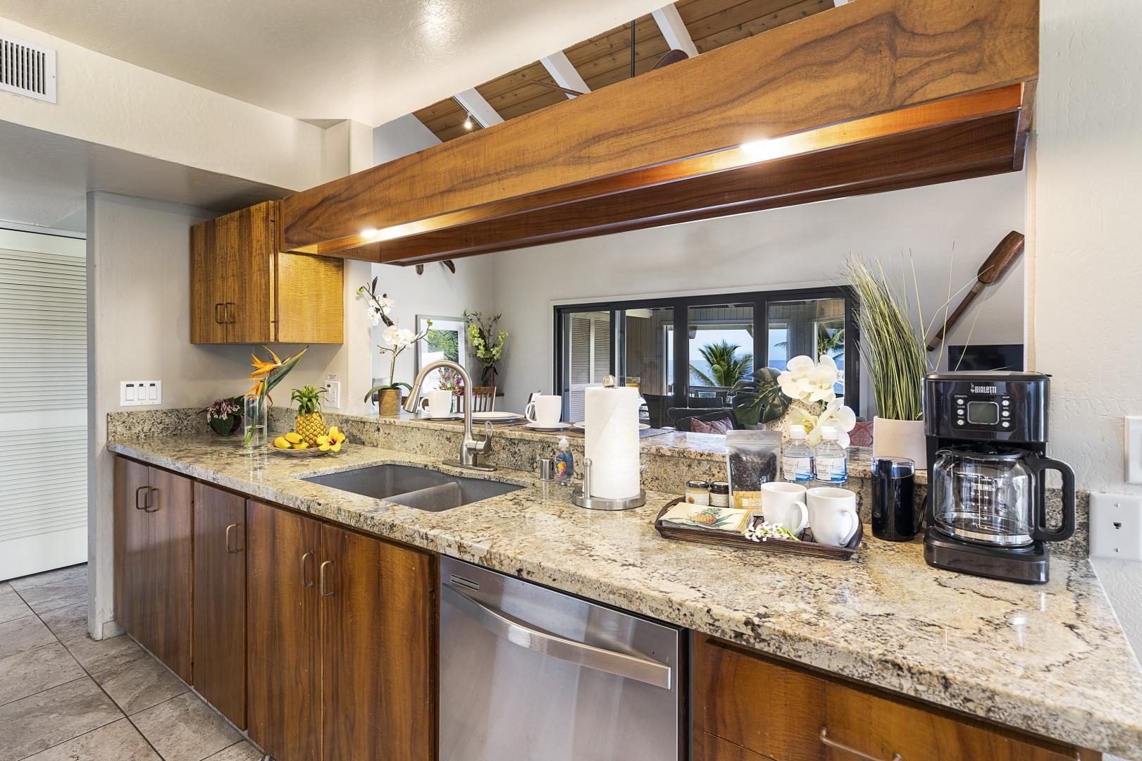 Koa wood cabinetry and granite counters