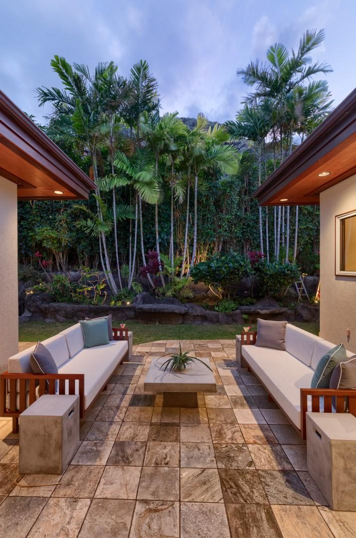 Ultra-private sitting area in the back yard.