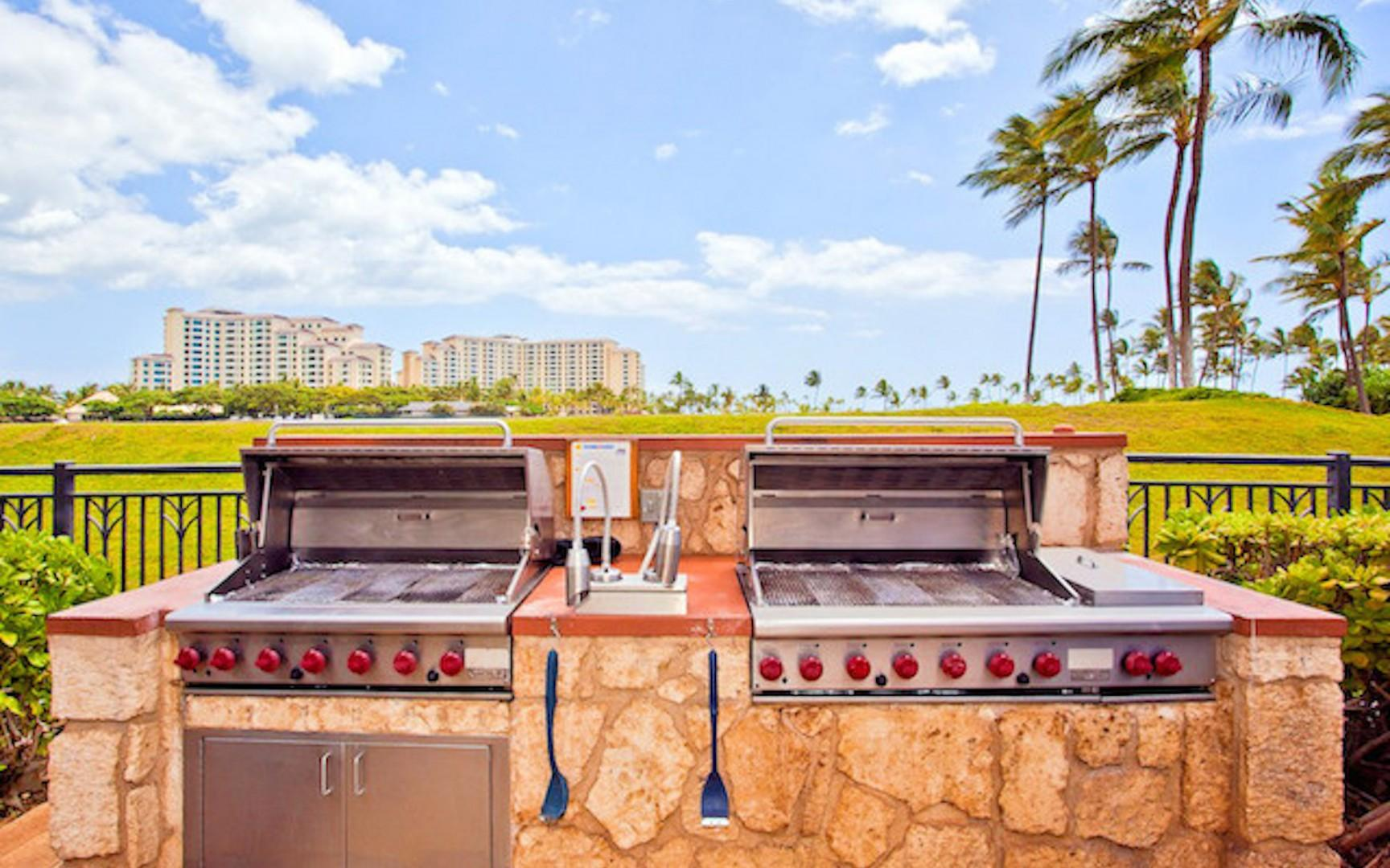 Two of four BBQ grills around the pool area can be used on a first come first serve basis