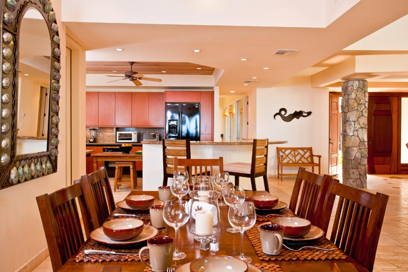 Sea Shells Beach House - Indoor Dining For Six with View of TV and Kitchen