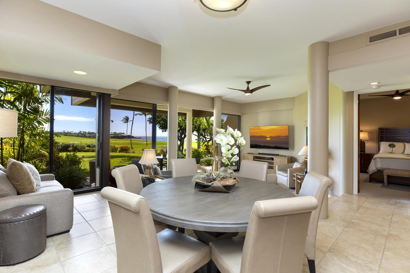 Enjoy a meal indoors while having views and being close to the chef.
