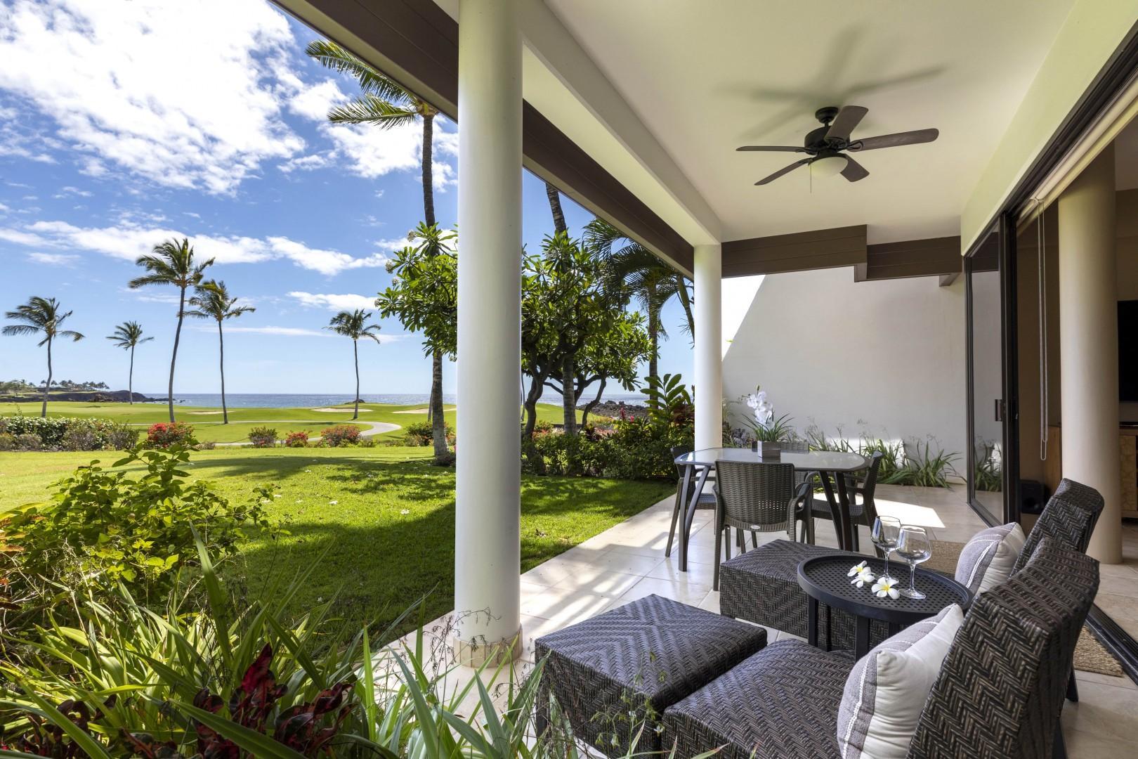 Enjoy alfresco dining or lounging on your ocean view lanai.