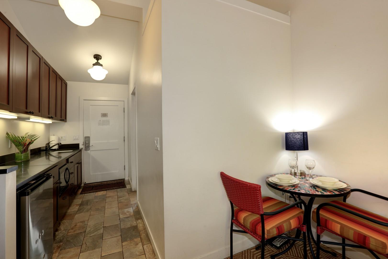 Dining for two with all the kitchen amenities needed