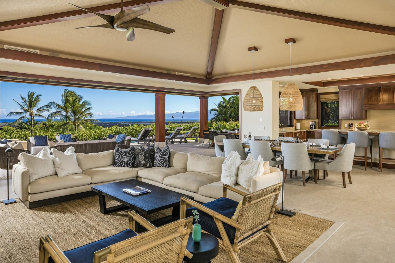 Open floor plan great room steps out to lanai, barbecue area, pool and spa through floor to ceiling pocket doors.