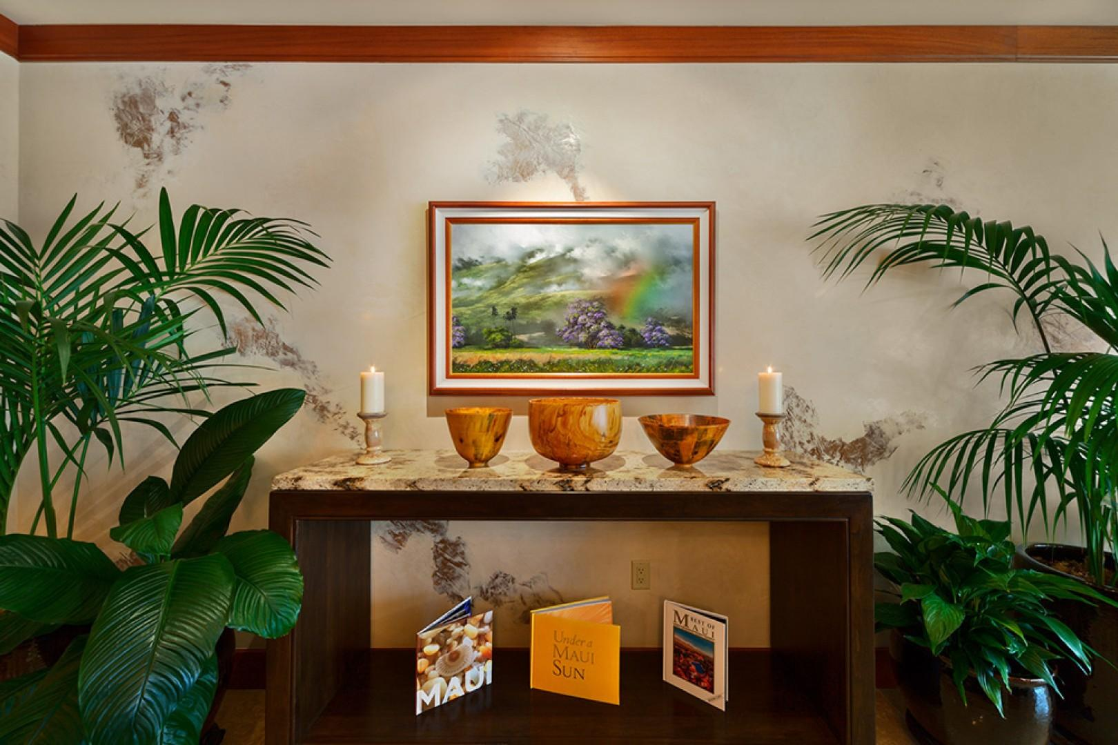 A201 Royal Ilima - Granite Buffet At Dining Table. Original Art, Pacific Rim and Tropical Artifacts, Gallery-Quality Decor