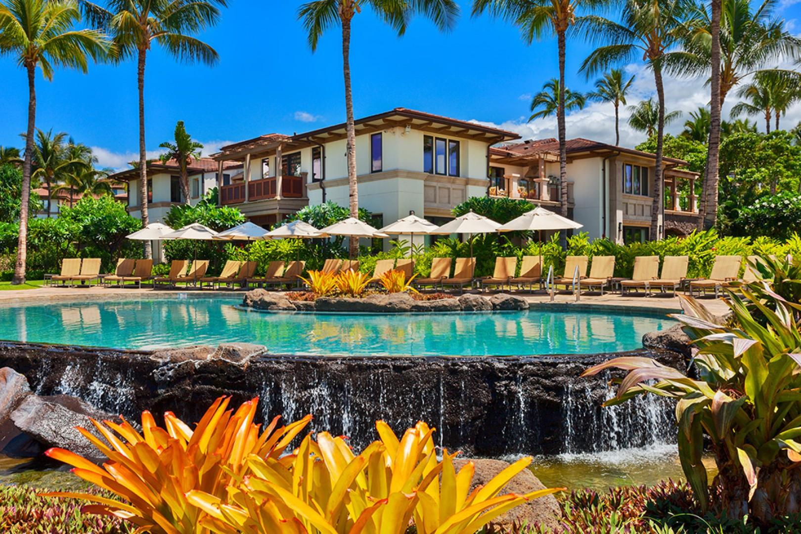 A View Towards A201 in the Upper Center of the BEACHFRONT A Building - Set Directly on Wailea Beach and Overlooking the Beachfront Adults Only Infinity-Edge Heated Swimming Pool and Hot Tub Spa