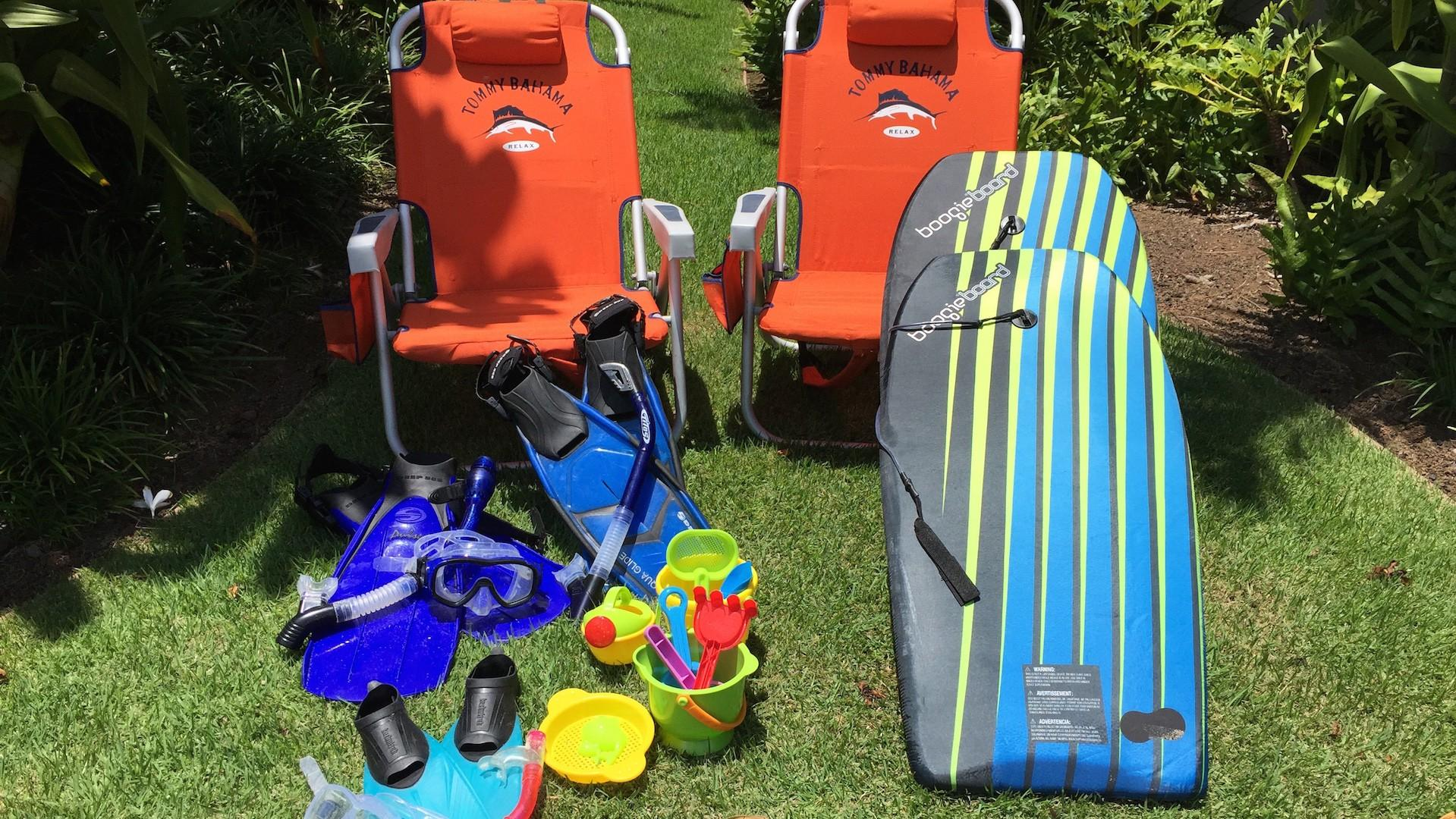 Beach amenities such as boogie boards, beach chairs, snorkel gear and more are included with your rental to make the most of your island getaway.