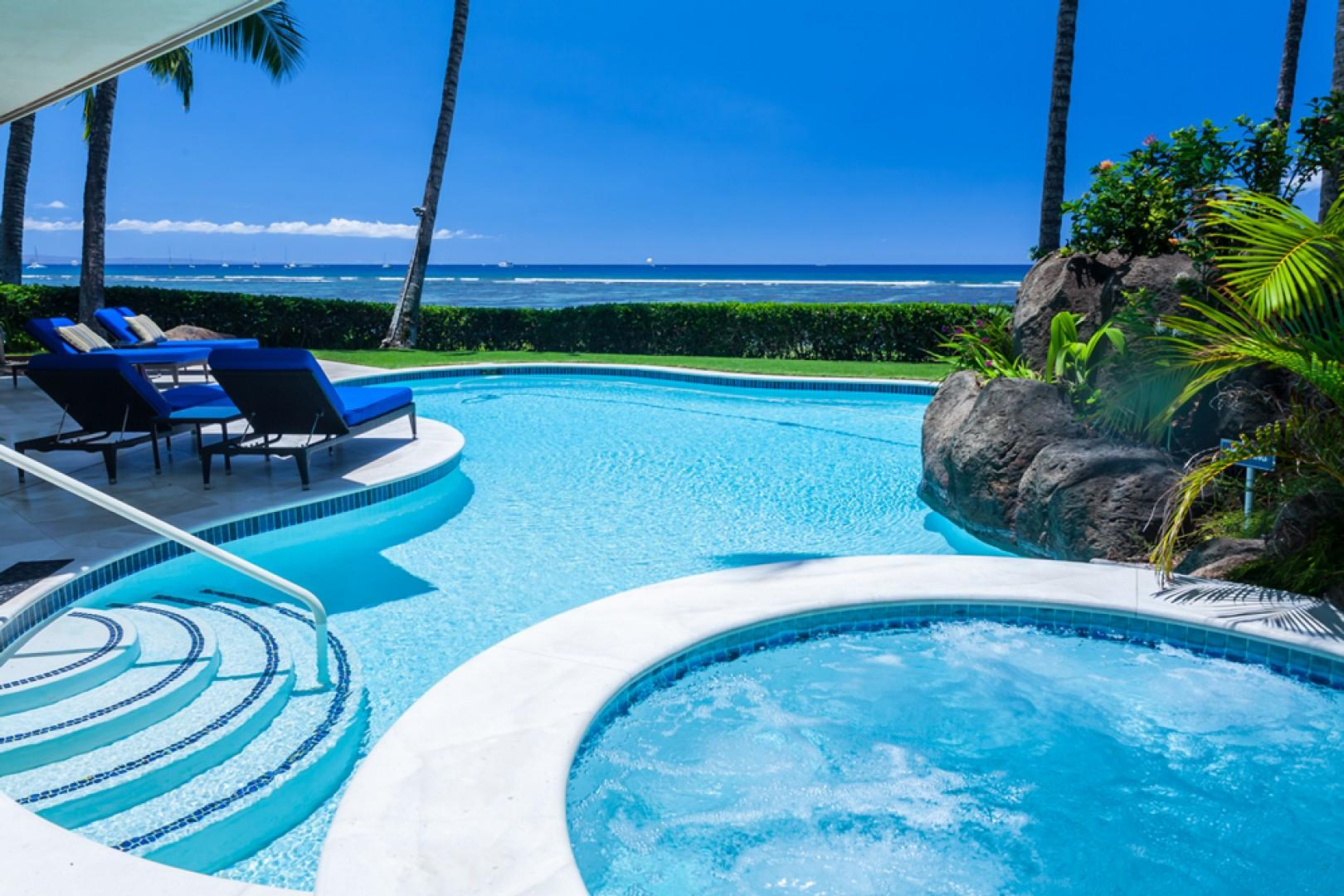 Opal Seas At Baby Beach - Private Beachfront Heated Pool with Grass Lawn, Outdoor Shower, Hammock, Jacuzzi Hot Tub Spa, BBQ Grill, Outdoor Dining, and Six Chaise Lounge Chairs