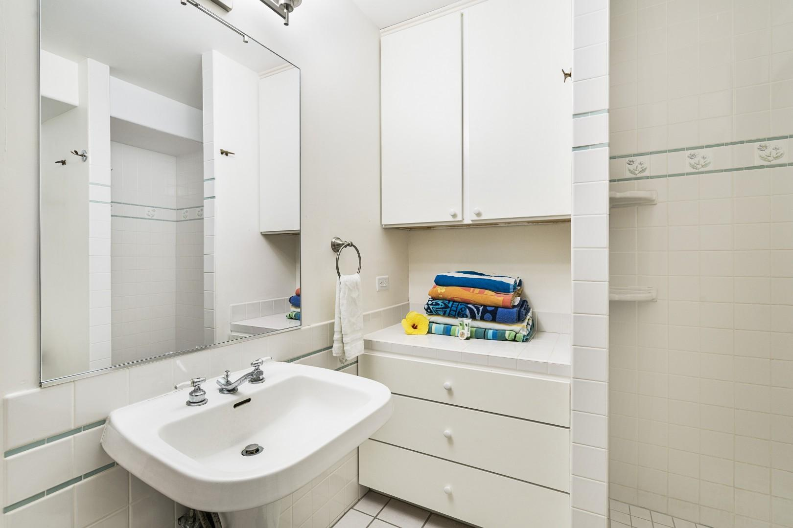 Second bathroom with entry next to the reading nook