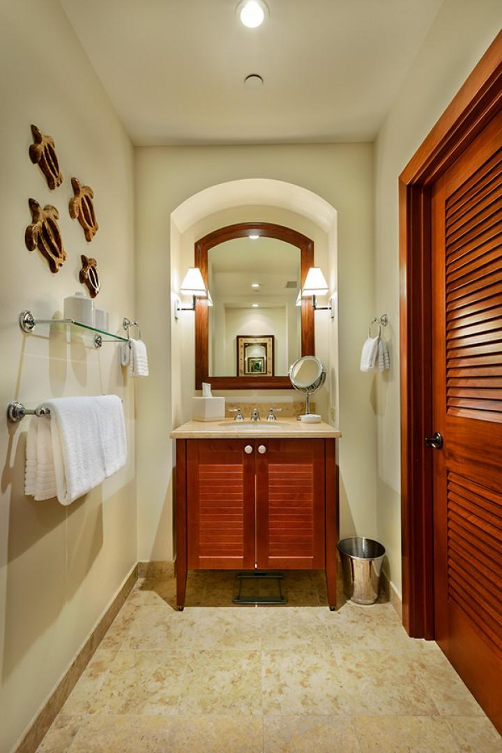 A201 Royal Ilima - Third Bedroom En-Suite Private Bath with Shower, Single Vanity, Make-Up Mirror, Hair Dryer, Scale, Toiletries and Plush Towels