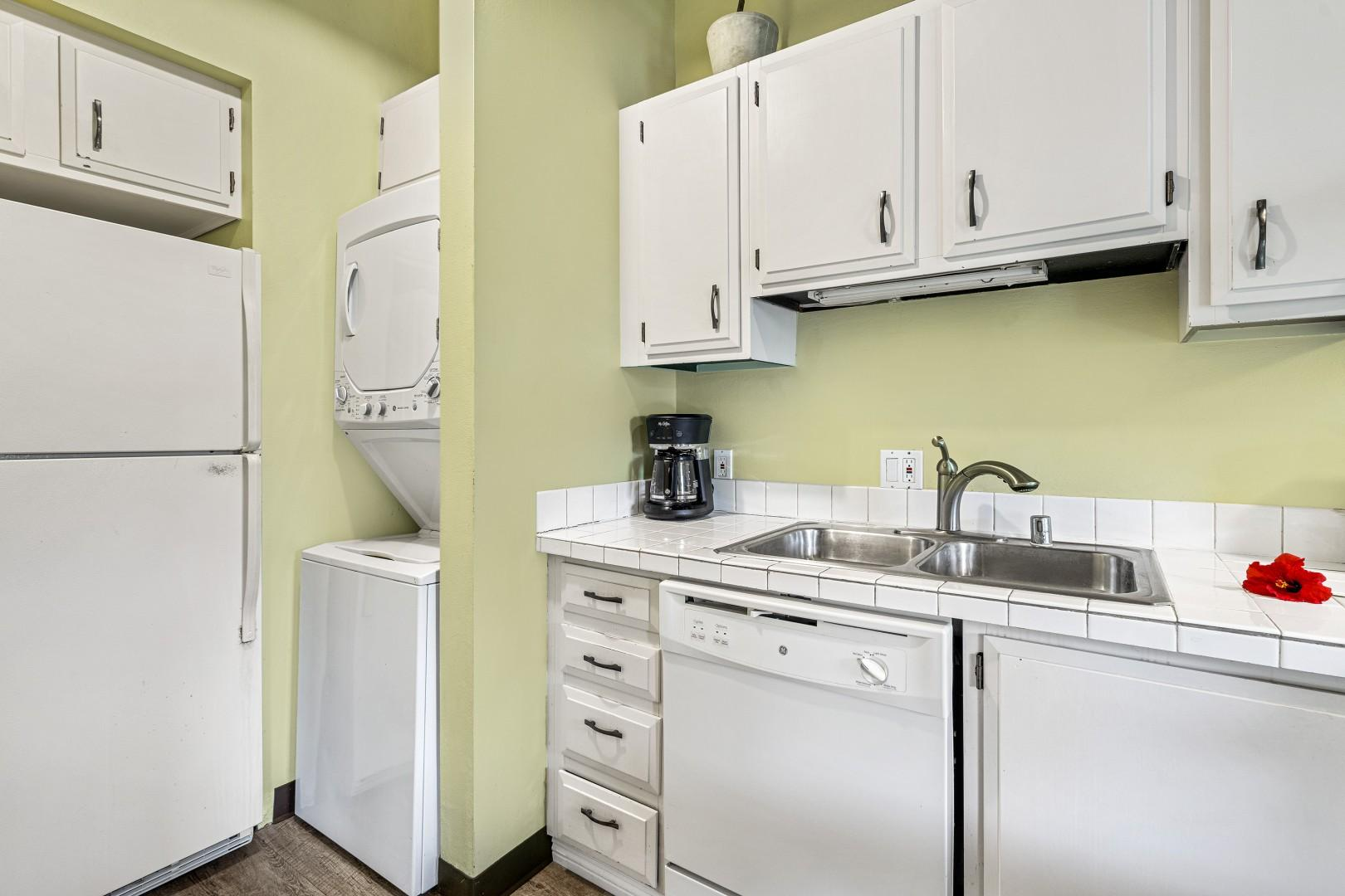Unit is equipped with a washer/dryer