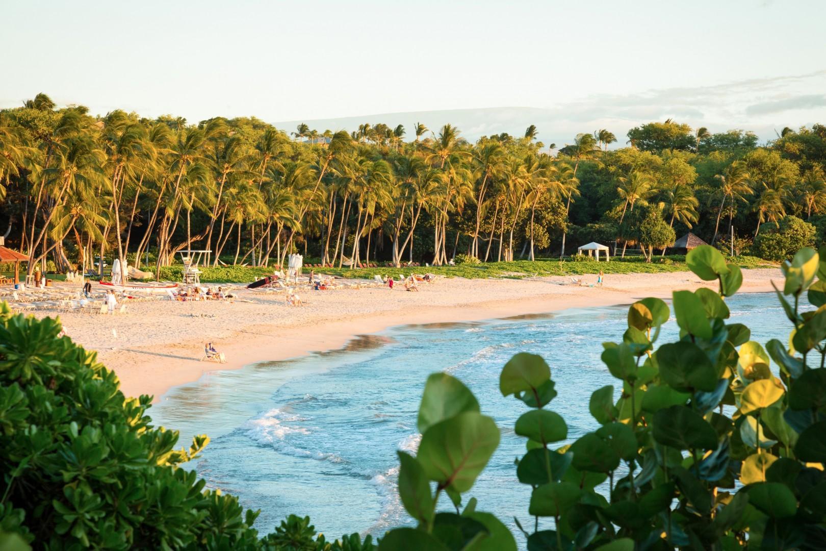 The fabulous Mauna Kea Resort Beach (Kauna'oa). Incredible white sand crescent beach - best resort beach on the island! Two-minute drive from home.