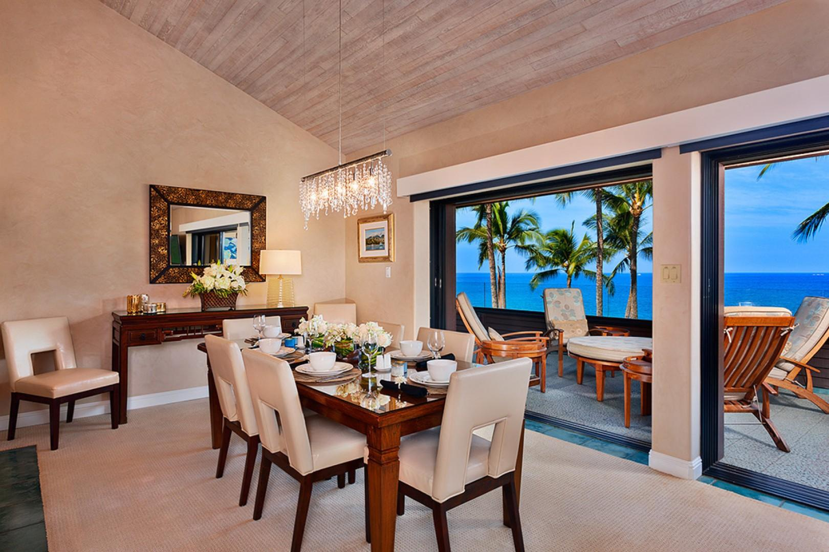 Sunny Surf E301 - Indoor Dining For Up To Eight Guests with Full Panoramic Ocean and Beach View, Vaulted Ceilings and Pocket Sliding Floor to Ceiling Glass Doors