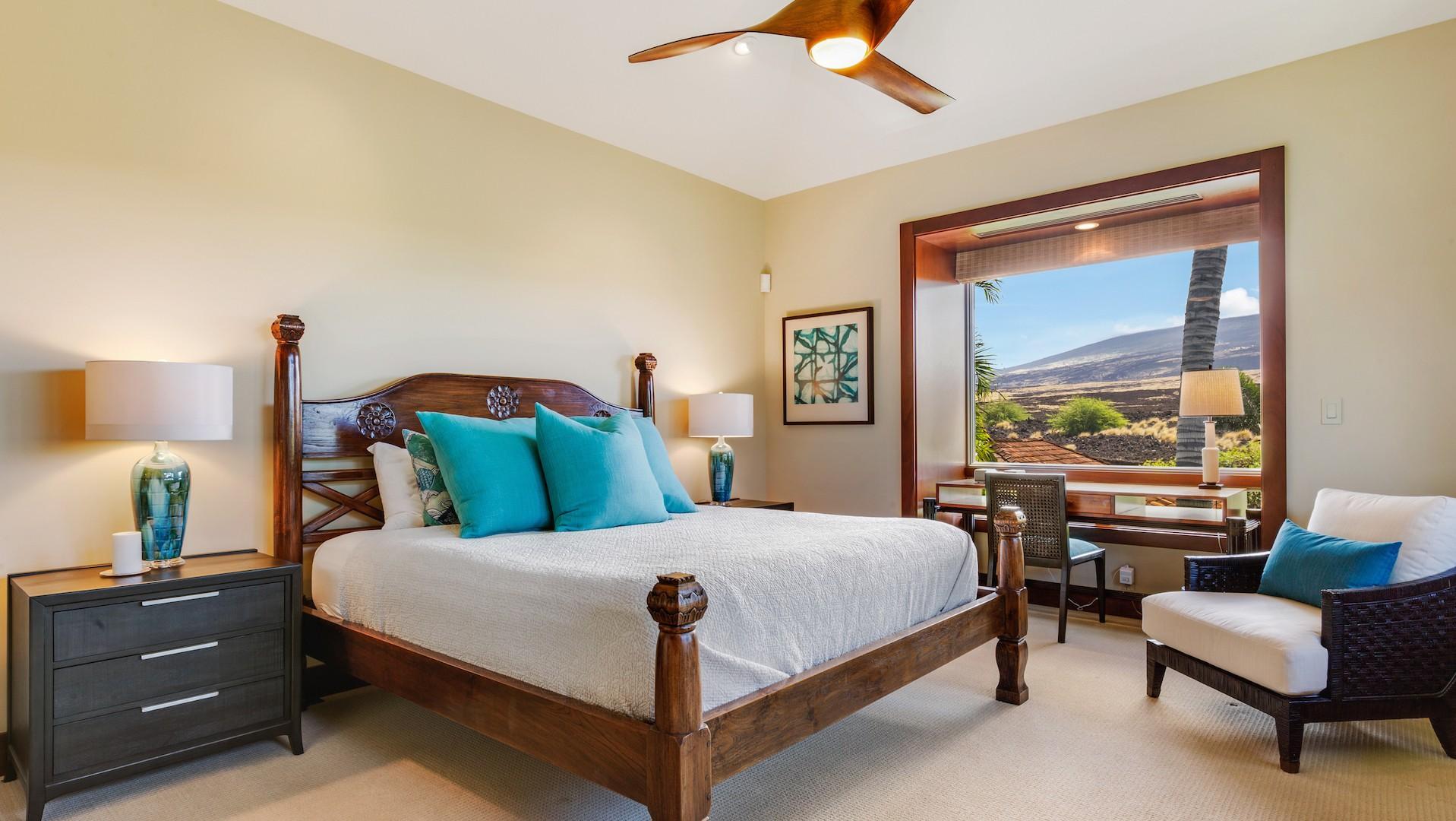 Third bedroom, with en suite bathroom and views of Mount Hualalai.