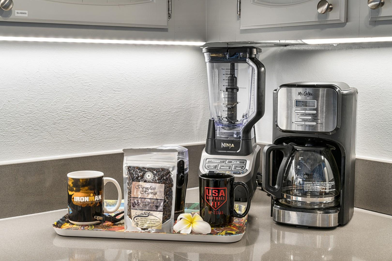 Coffee corner and high end blender for our guests enjoyment!