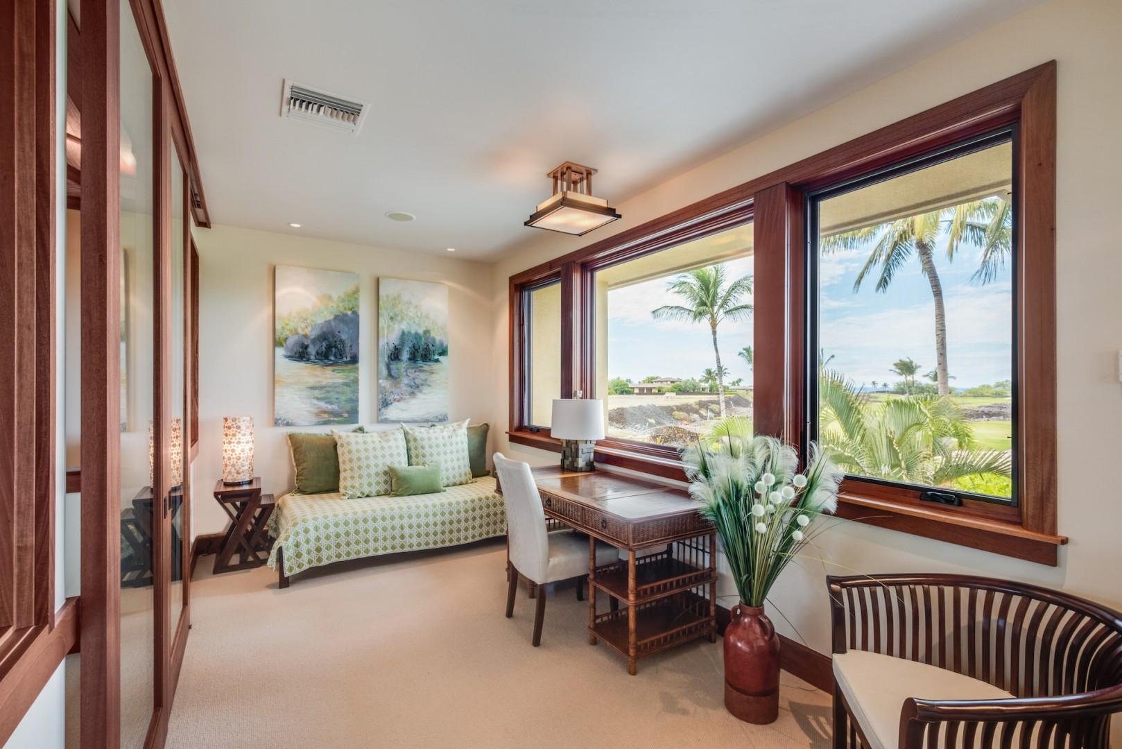 Office Space w/ Twin Daybed and Expansive Golf Course View Attached to Upstairs Master Bedroom