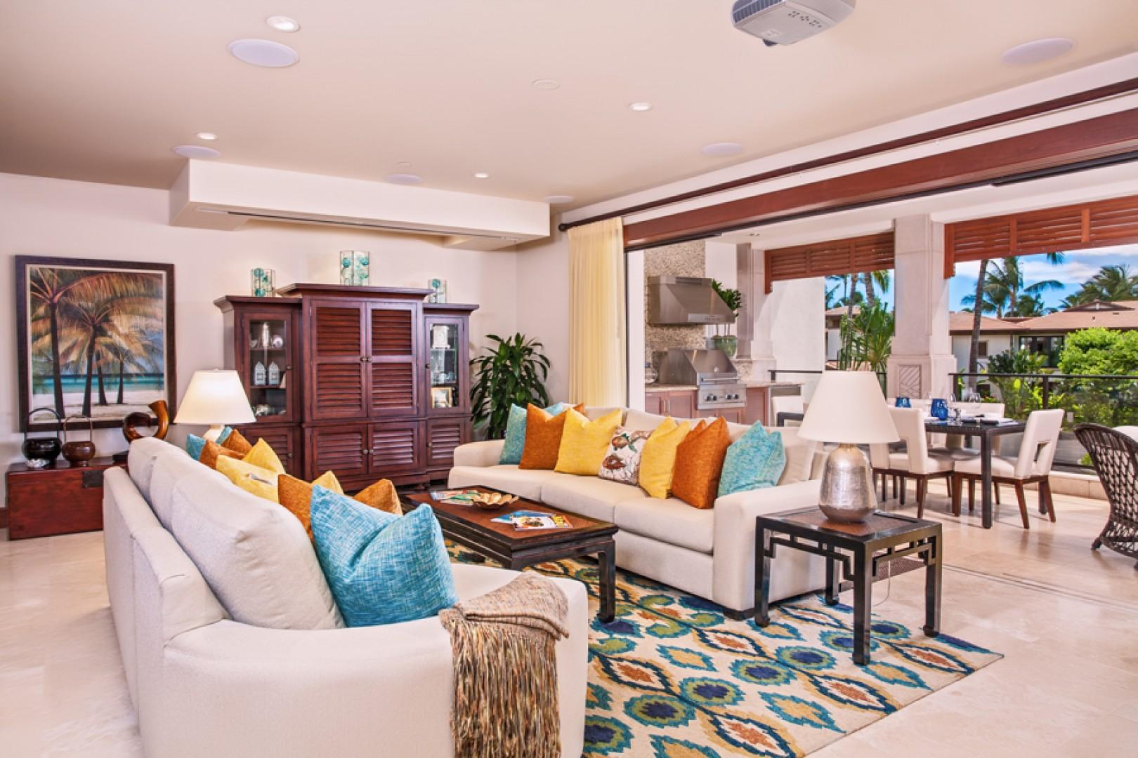 Castaway Cove C201 - Ocean View Great Room with Extensive Entertainment Center, Alfresco Covered Terrace Dining and Lounging